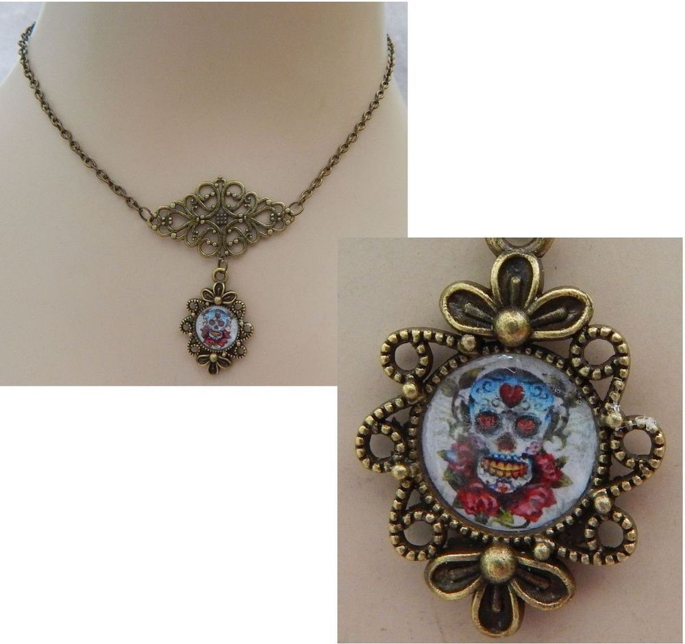 pendant products sugar heart gold skull cartergore tattoocandy