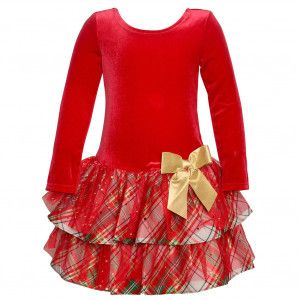 51e6c6794816 Bonnie Jean Little Girls Red Plaid Tiered Knee-Length Christmas Dress 2T-6X
