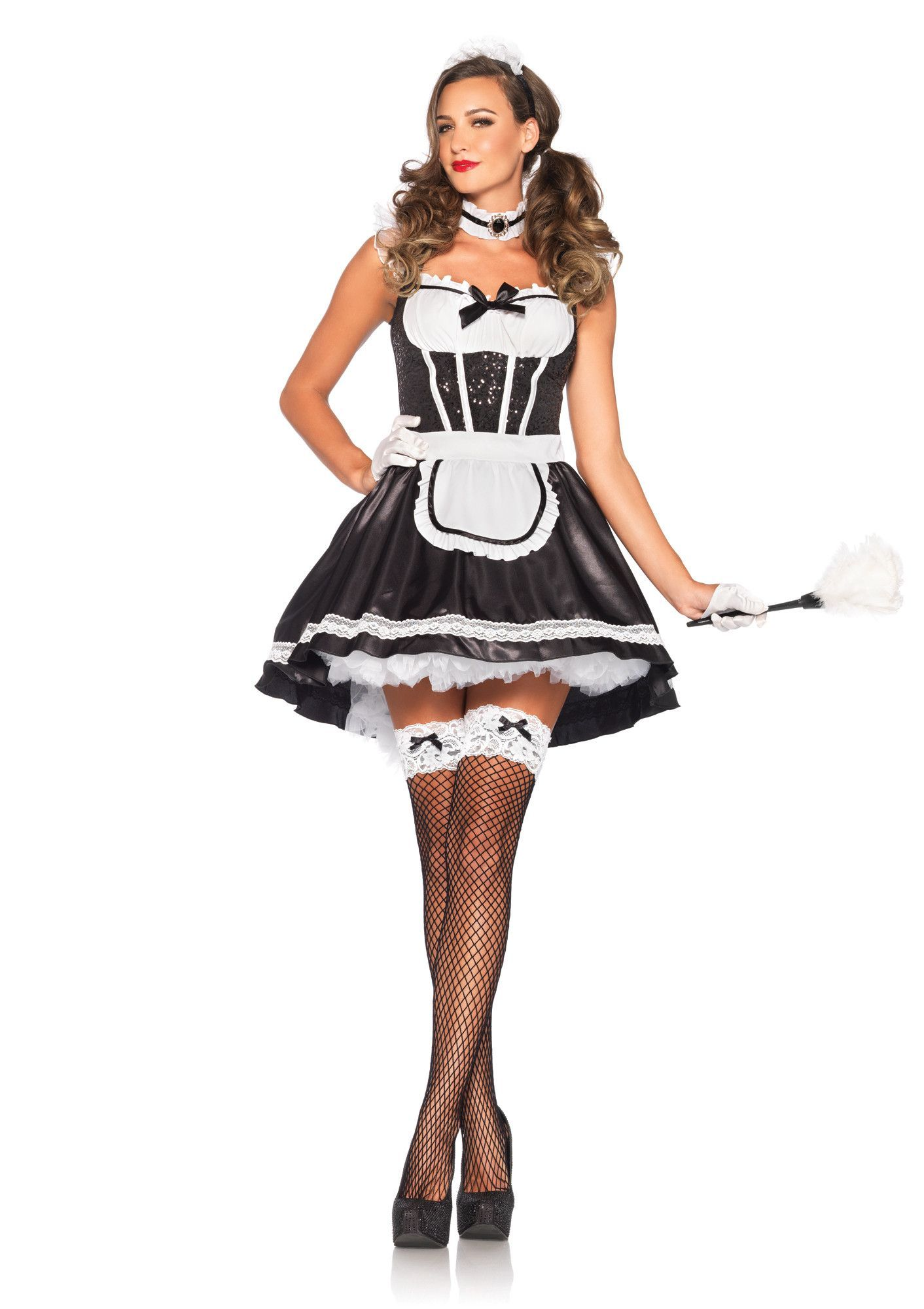 Fiona feather duster costume fishnet maids and high low this halloween get yourself a maid with this costume by leg avenue comes with the highlow dress choker and headband make sure to stop by and ask us solutioingenieria Gallery