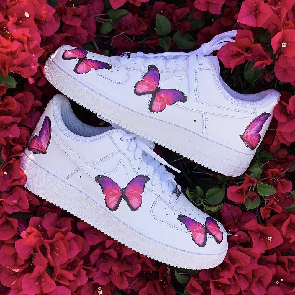 Pink Butterfly AF1 Butterfly shoes, Aesthetic shoes