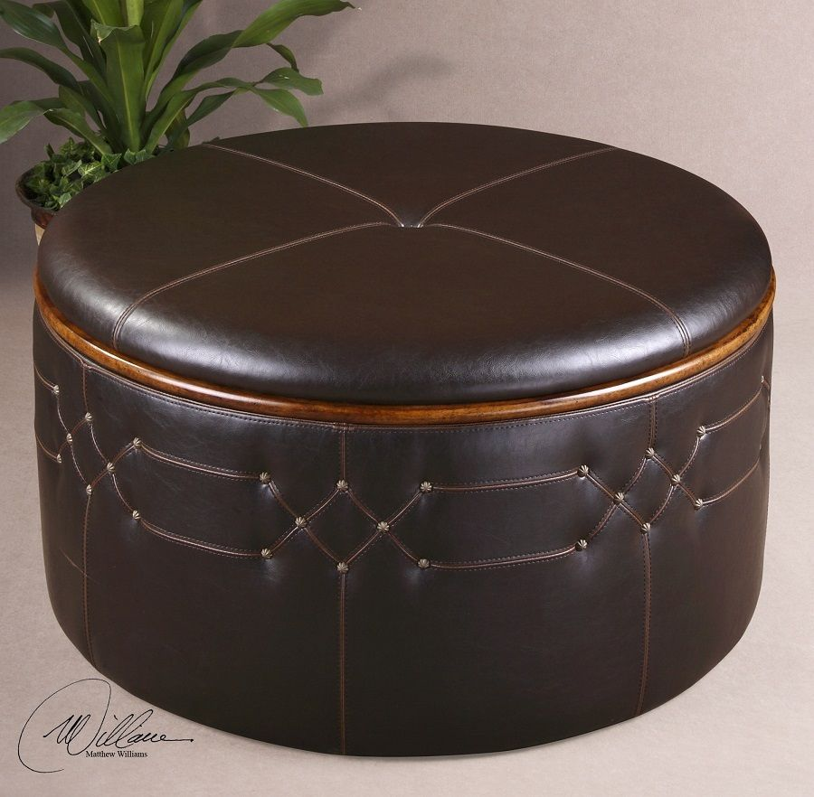Brunner Round Leather Ottoman with Storage & Brunner Round Leather Ottoman with Storage | Round leather ottoman ...