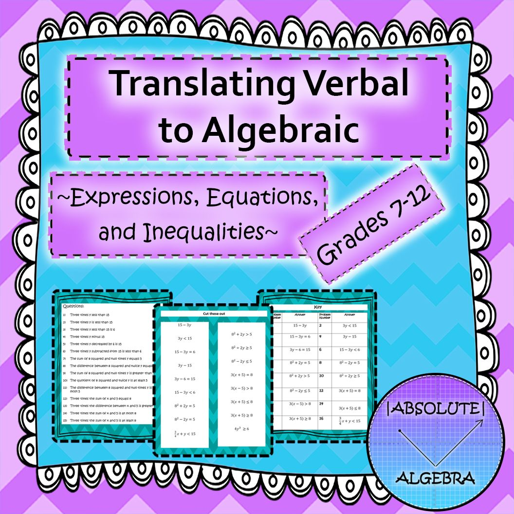 Translating Verbal To Algebraic Expressions Equations