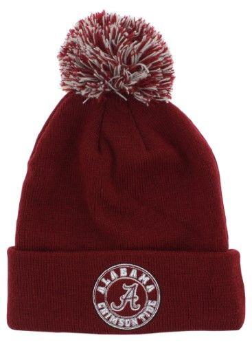 new style ff388 58e62 Zephyr Mens Alabama Crimson Tide X Ray Pom Beanie Hat Burgundy One Size,  Men s, Red