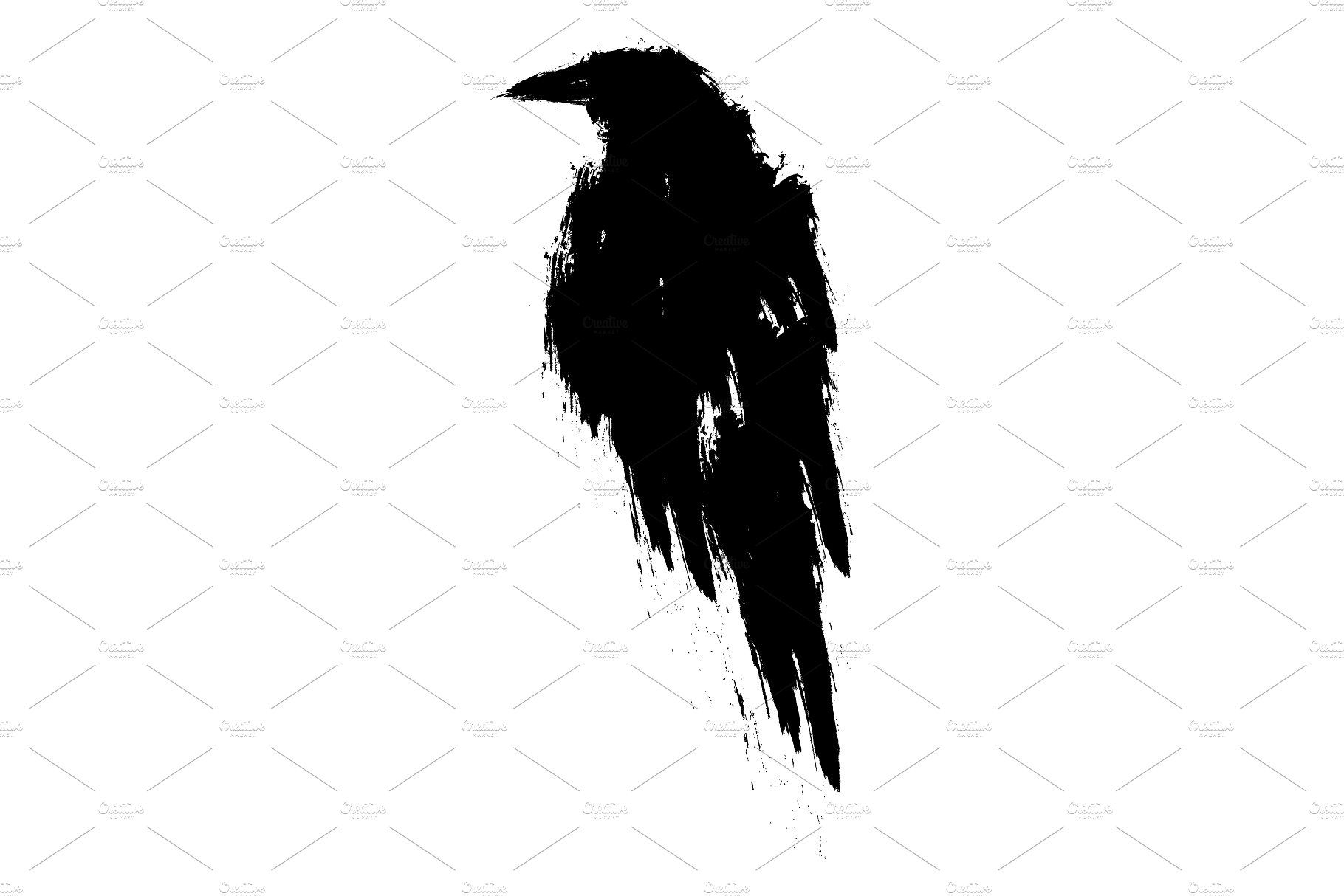 Black Raven. Crow. Tattoo.