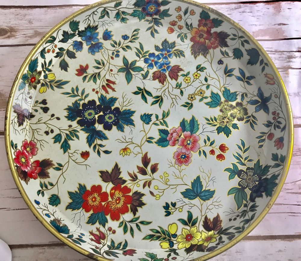 """Daher Decorated Ware Tray Made In England Vintage Daher Decorated Ware Round Tin Serving Tray 12"""" Floral"""