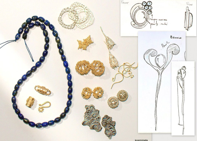 Work in progress and informal renderings for two brooch commissions, Sophia Georgiopoulou