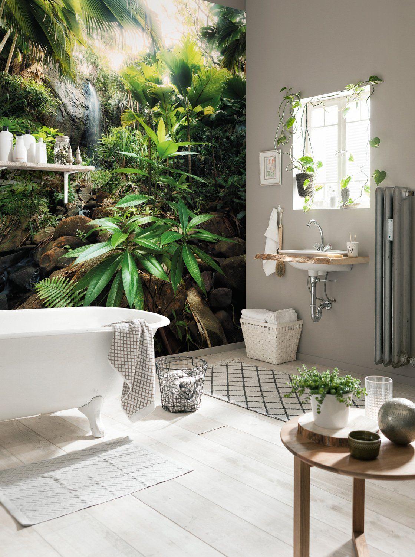 Leroy Merlin Papier Peint Salle De Bain donner un style tropical à la salle de bains avec un poster