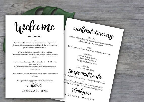 Weekend Itinerary Template Destination Wedding Welcome