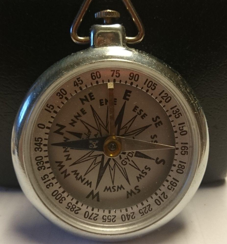 Vintage Taylor U S A Gydawl Metal Pocket Compass With Box Pocket Compass Compass Metal