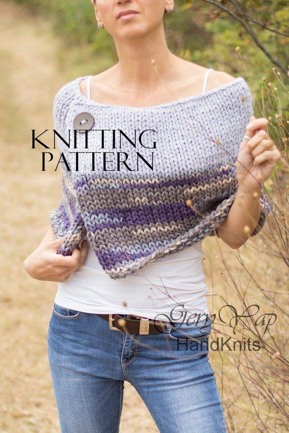 Wool poncho cape Pattern - Winter poncho pattern for women - Easy to knit pattern -Beginner Pattern-Instant Download- knitting pattern