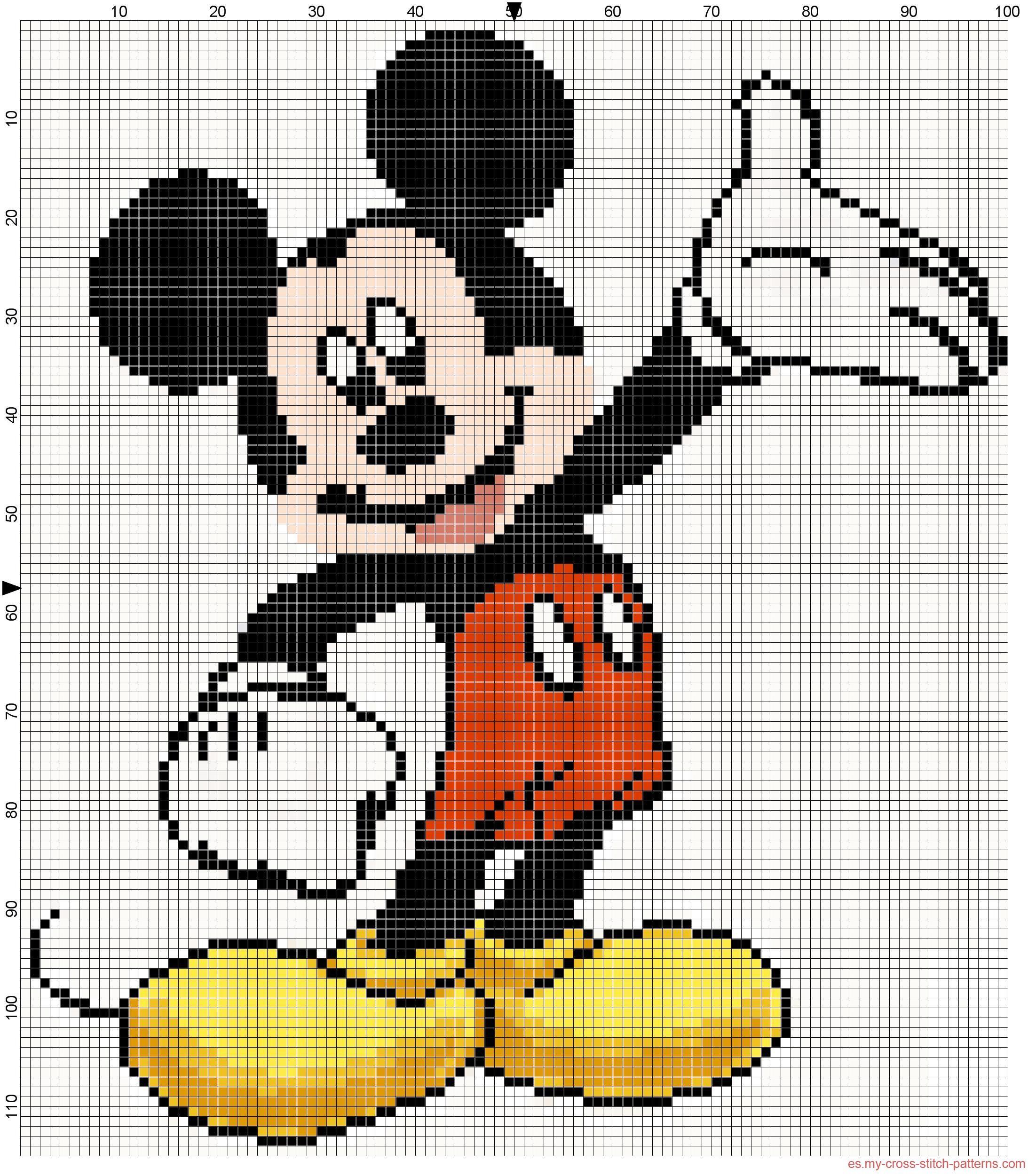 Mickey Mouse Patron Punto De Cruz