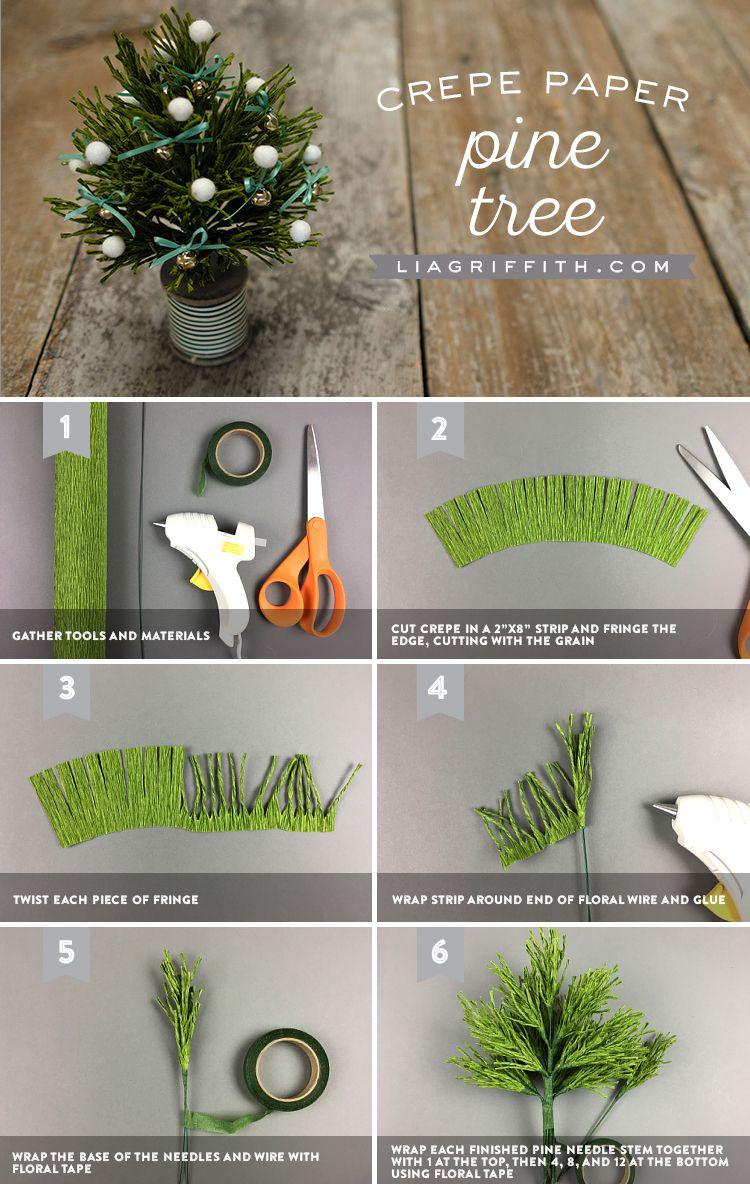 Mini Crepe Paper Pine Trees Lia Griffith Paper Flowers Paper Flowers Diy Christmas Diy