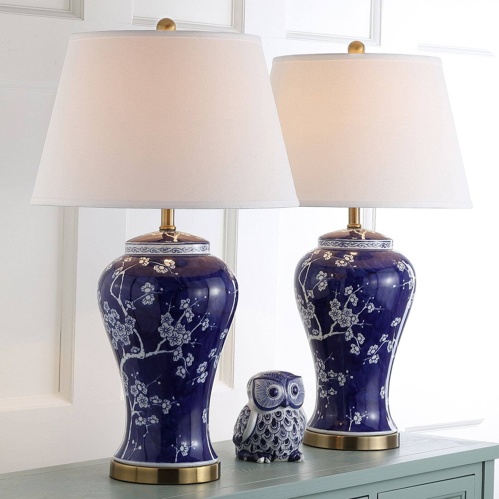 Safavieh Spring 29 Inch H Blossom Table Lamp Set Of 2 Color Navy Blue Finish Gold Quantity Set Of 2 Walmart Com Lamp Sets Table Lamp Sets Lamp