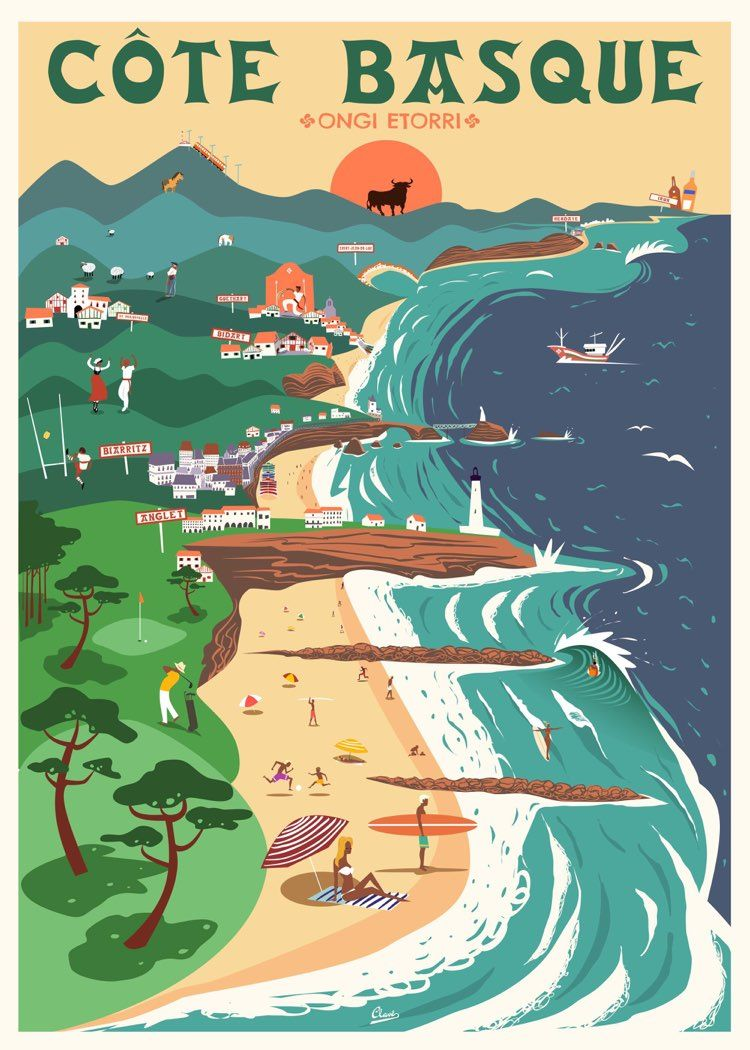 Basque Country Spain Retro Travel Poster Vintage Poster Art Vintage Posters