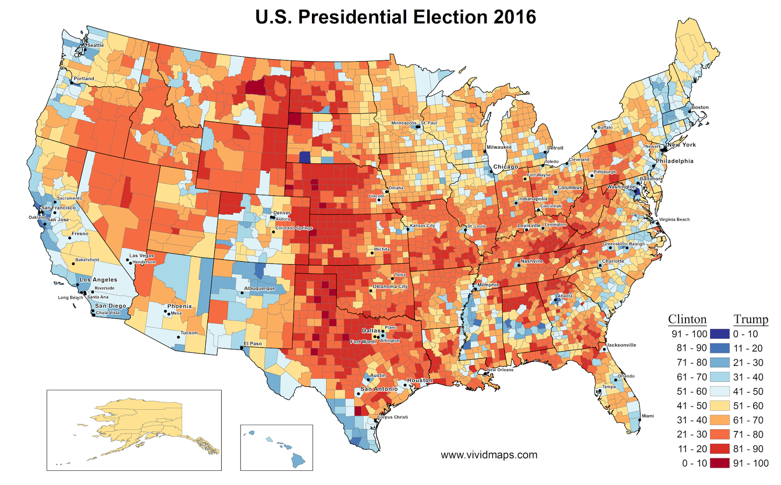 US Presidential Election Results In Three Maps Maps That - 2016 map us red states
