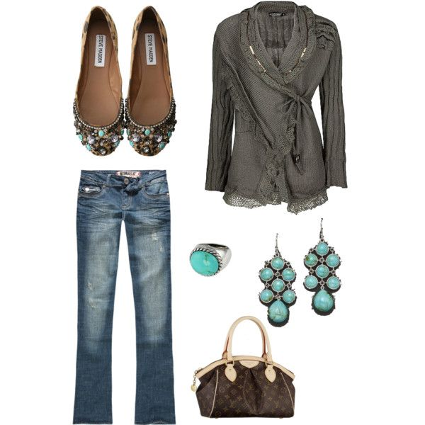 Outfit -- Wrap sweater with buckle.