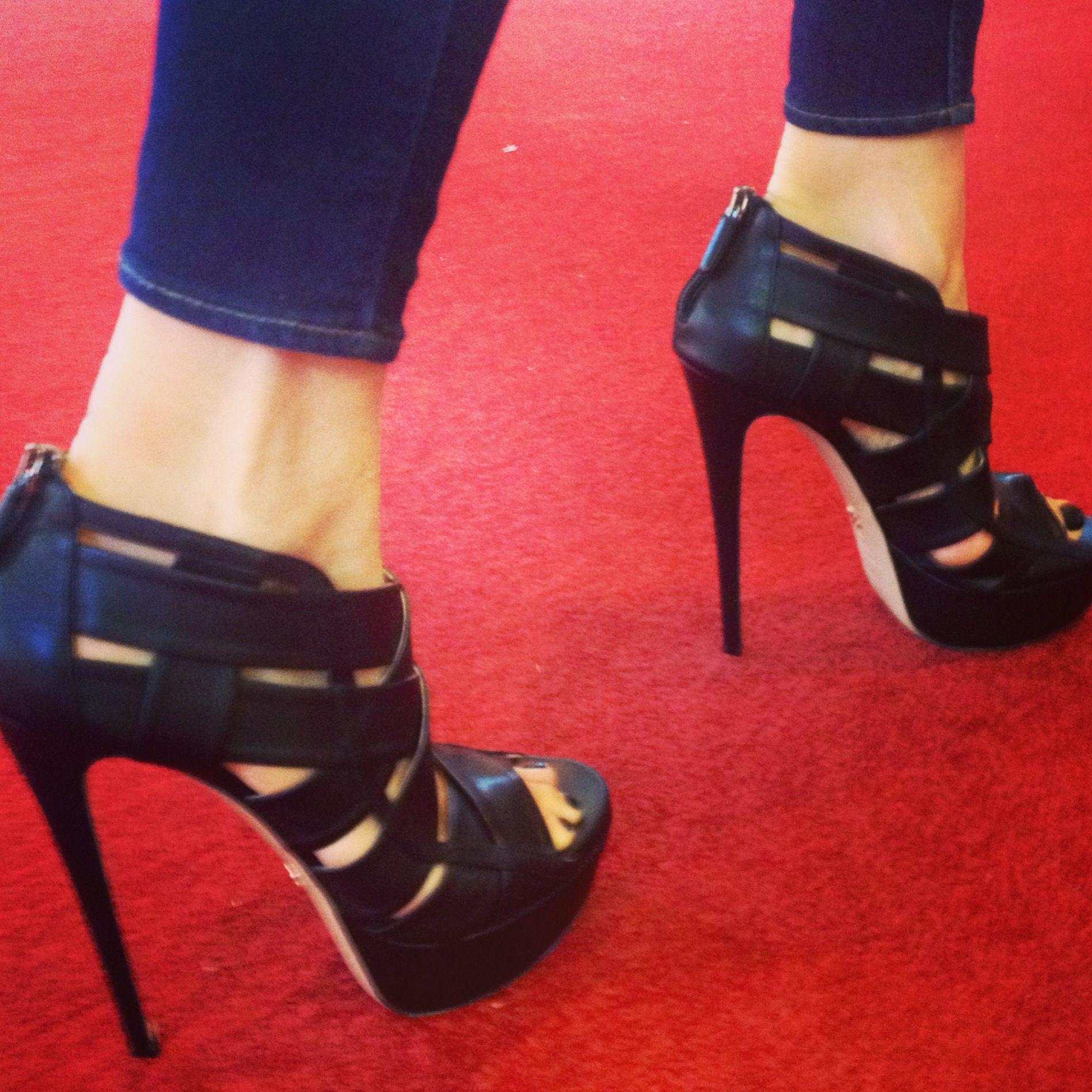 "Ruthie Davis ""Halle"" sandals worn by the Designer on the red carpet."