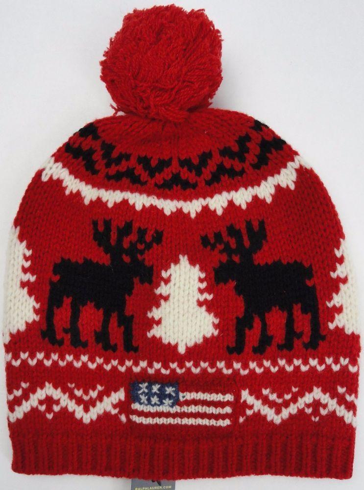 df0d03d38be NWT Polo Ralph Lauren Mens USA Flag Wool Beanie Hat Red Moose Tassel Knit   98.50  PoloRalphLauren  Beanie