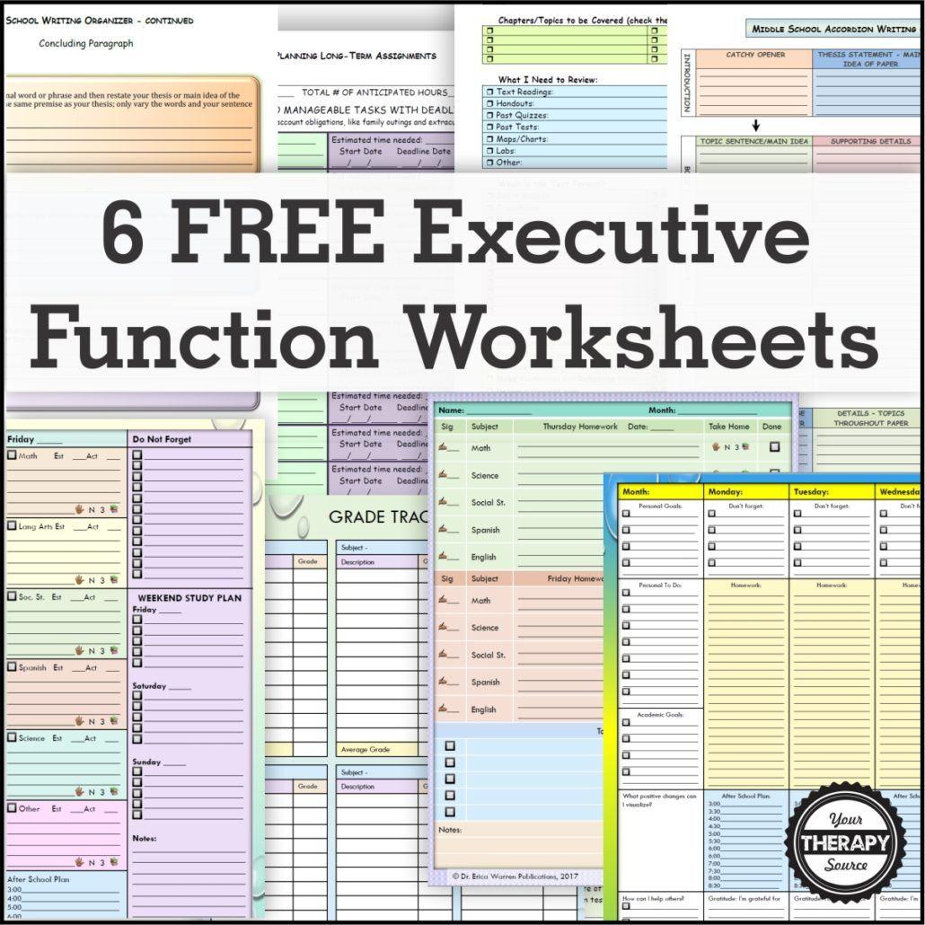 6 Free Executive Functioning Activity Worksheets