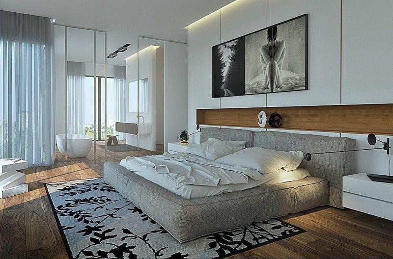 chambre adulte avec un grand tapis motif floral et lit tout confort - Tapis Chambre Adulte