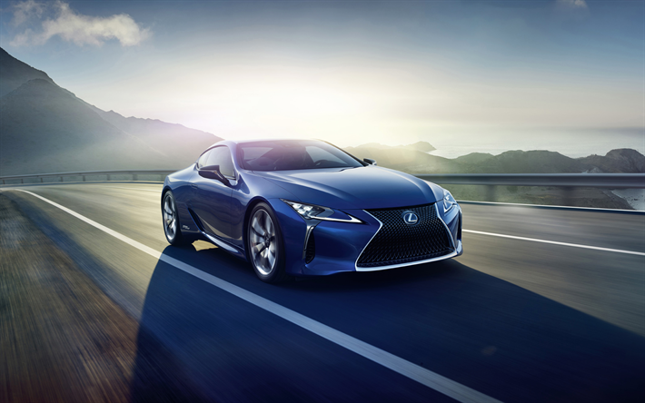 Download Wallpapers Lexus Lc 500h 2018 4k Blue Sports Coupe