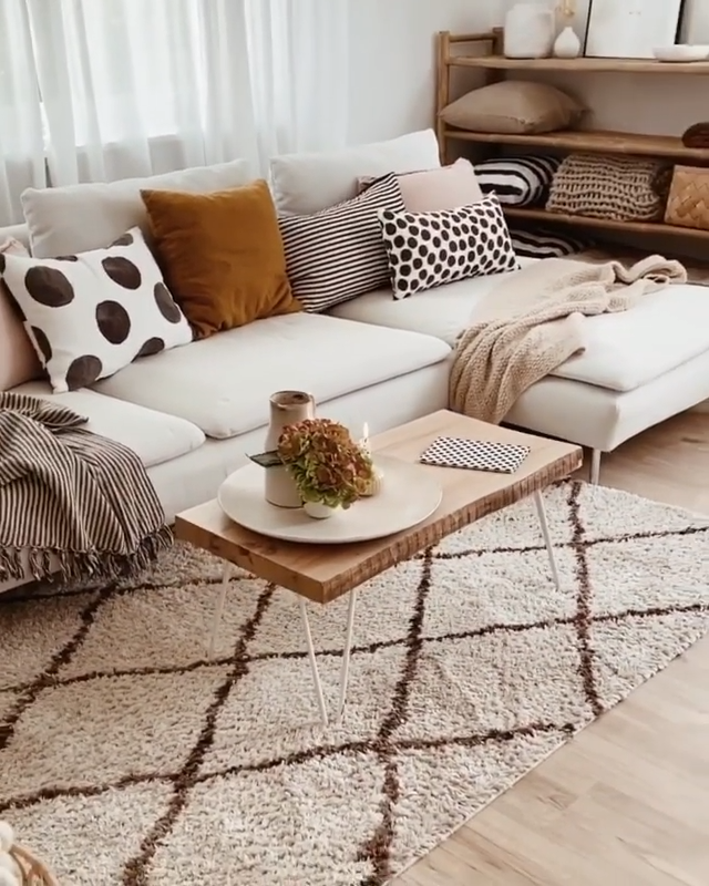 Look at how cozy this place looks! Beautiful living room decor by @bohoandnordic. Click the image to try our free home design app.  (Keywords: living room decor, living room ideas, living room designs, dream rooms, house design, home decor ideas, living room rugs, living room furniture, positive vibes, positive thoughts, boho living room)