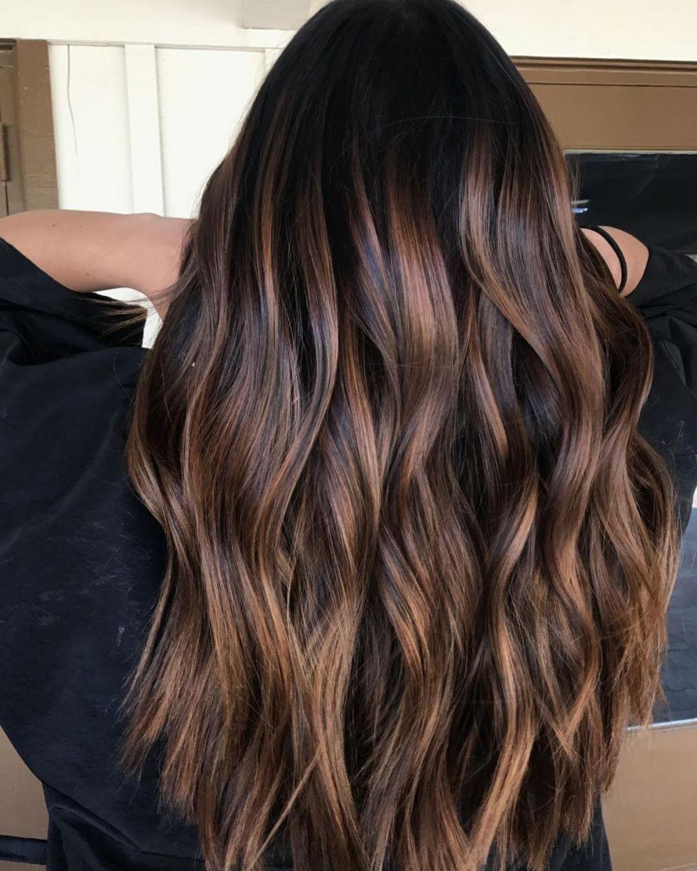 Long Brown Hair With Caramel Highlights In 2020 Hair Color For Black Hair Brown Hair With Highlights Long Brown Hair