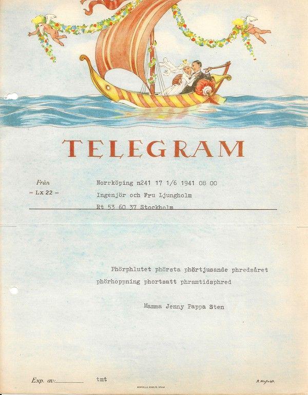 50 års telegram Swedish telegram, 1941 | Ephemera | Pinterest | Ephemera and  50 års telegram