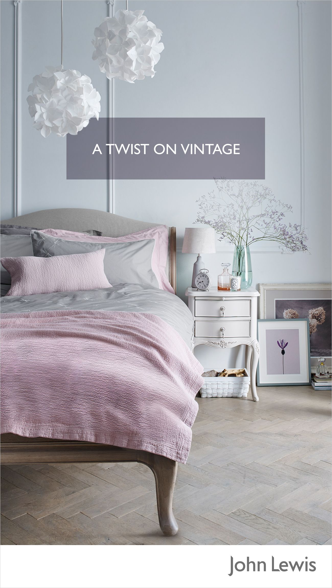 Give your vintagestyle sleep sanctuary a modern twist with