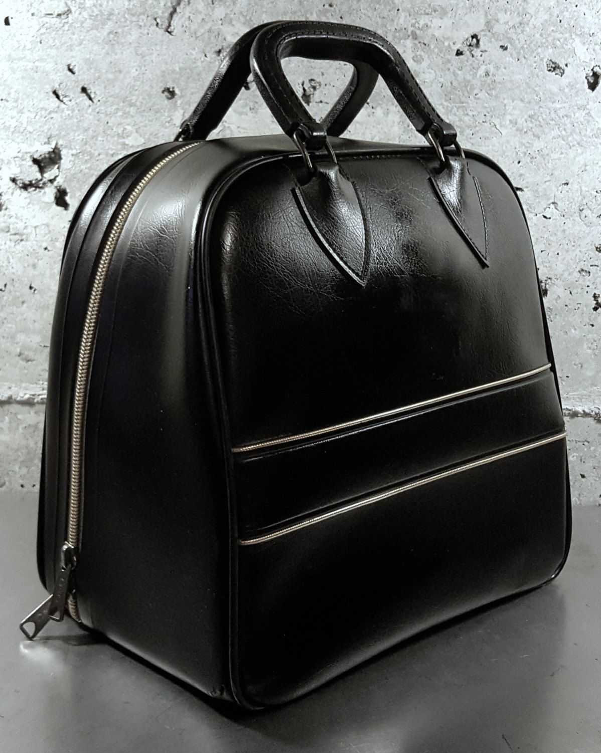 Vintage C Bowling Ball Bag W Black Faux Leather Vinyl And Gold Piping Trim Heavy Duty Metal Plate Rack Side Pocket Shoe Cubby By Midmodery On