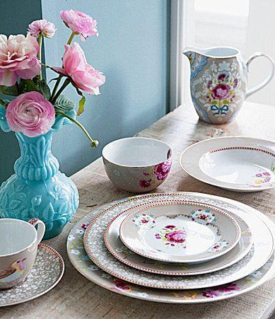 Pip Studio Khaki Floral Dinnerware & sweet...looks vintage-y. Pip Studio Khaki Floral Dinnerware ...