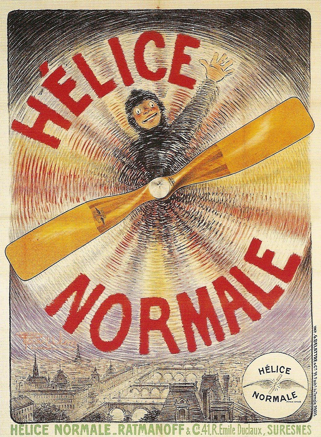 1909 Raoul Vion Helice Normale Usine Suresnes Vintage French Posters Vintage Advertisements Illustration