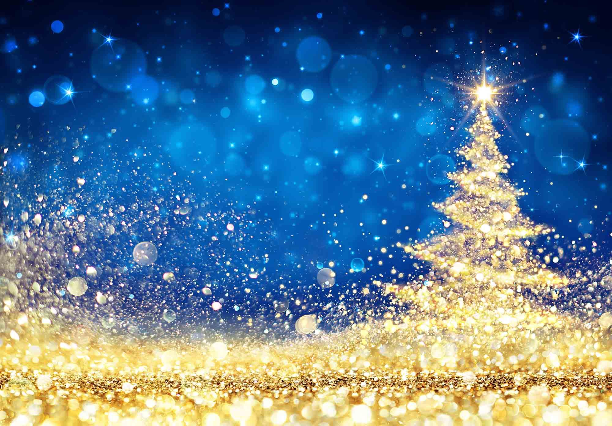Christmas Tree Backgrounds.Shiny Christmas Tree Golden Dust Glittering In The Blue