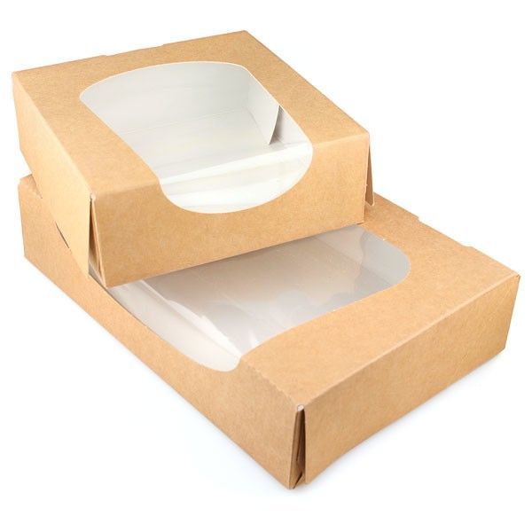 5 Brown Kraft Paper Boxes With Pla Window 2 Sizes Packaging