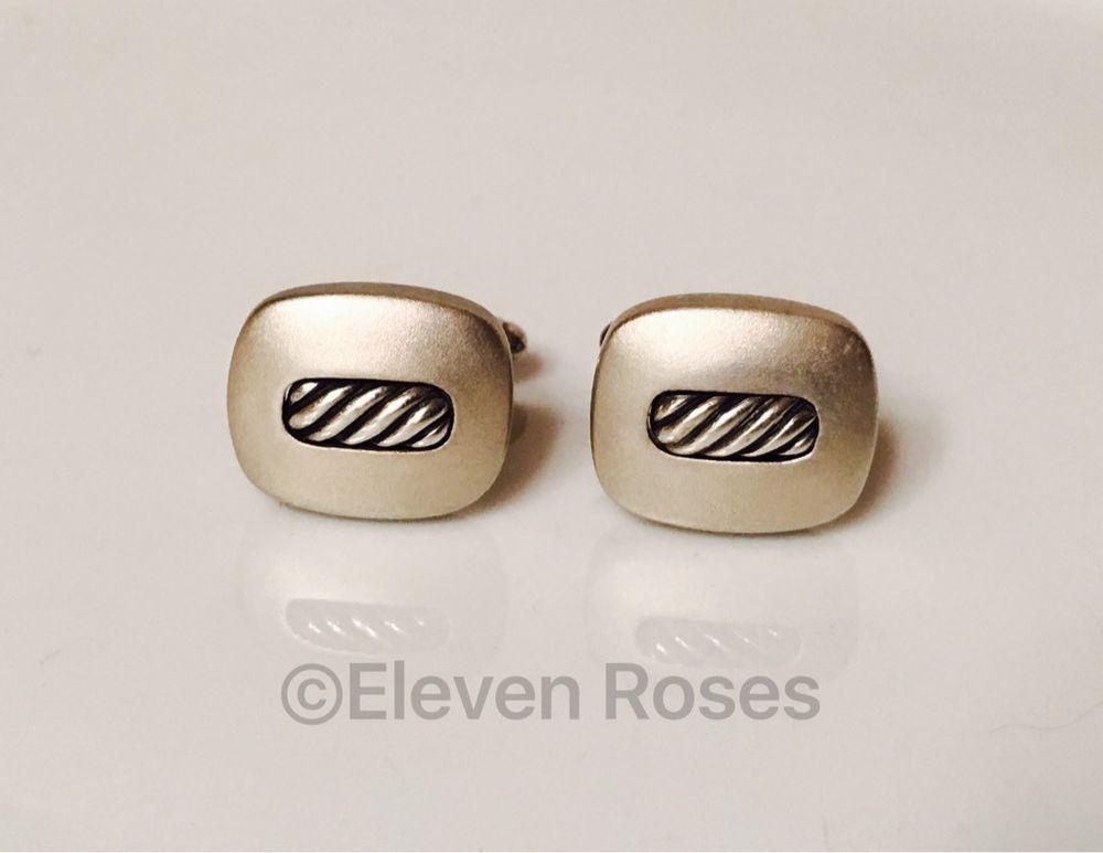 David Yurman Cuff Links Classic Cable Inset Cufflinks DY 925 Sterling Silver | eBay