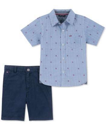 STRONG BLUE Tommy Hilfiger Baby Boys Button Up Dress Shirt