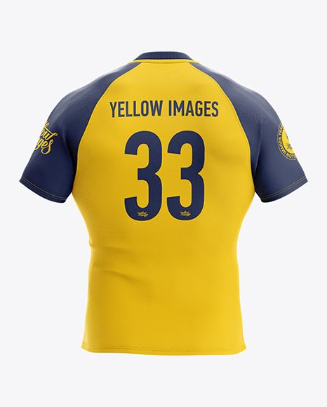 Download Men S Rugby Jersey Mockup Back View In Apparel Mockups On Yellow Images Object Mockups Clothing Mockup Design Mockup Free Rugby Jersey