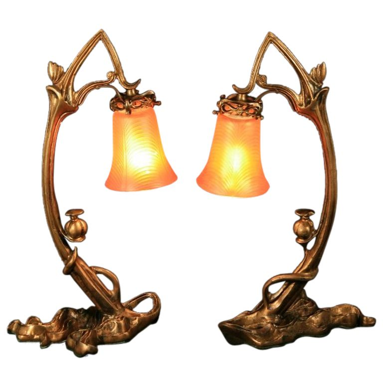 Rare pair of bronze art nouveau ribbed glass tulip table lamps rare pair of bronze art nouveau ribbed glass tulip table lamps from a unique collection aloadofball Image collections