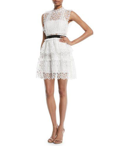 aa9e322db52516 Self-Portrait Sleeveless Lace Belted Mini Cocktail Dress