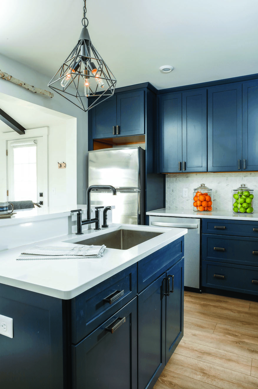 cozy navy blue kitchen with oak cabinets for your home kitchencabinetsetsforsale small on kitchen decor blue id=28680
