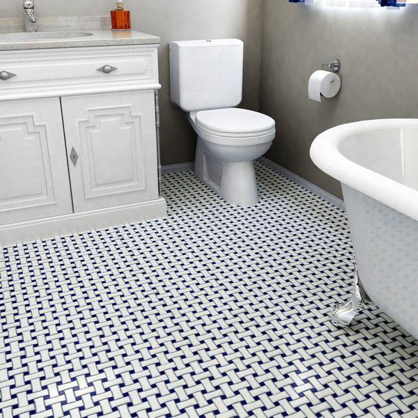 Somertile Victorian Basket Weave White And Cobalt Porcelain Mosaic Floor Wall Tile Pack Of