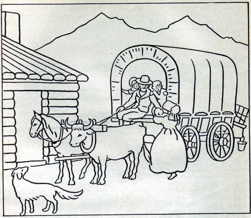 Vintage pioneer life coloring pages