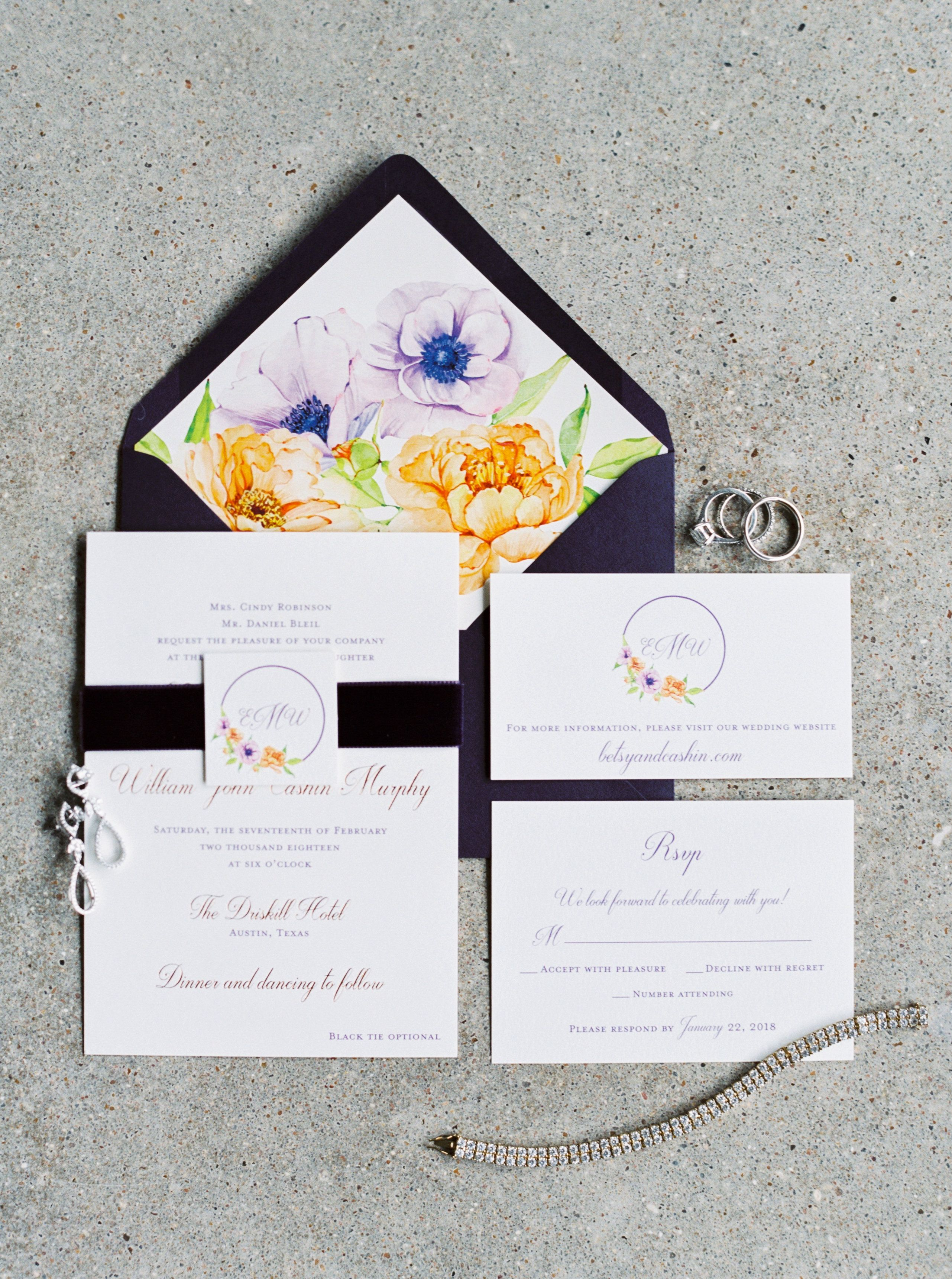 Wedding invitation set with velvet ribbon by The Inviting Pear