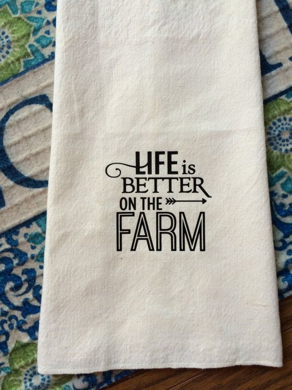 1940s vintage farmhouse kitchen flour sack dish towel life is better on the farm tea towels decor font housewarming wedding christmas gift - Kitchen Towels New Design