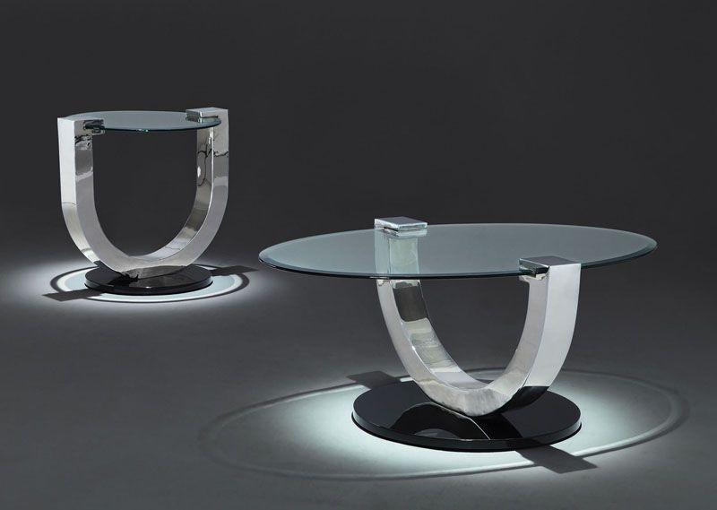 Andria modern ushape chrome glass coffee table round