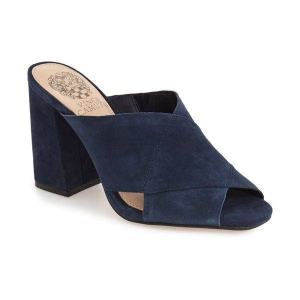 """Vince Camuto 'Jevan' Mule, 3 1/2"""" heel ($59) ❤ liked on Polyvore featuring shoes, dark navy, chunky high heel shoes, wide high heel shoes, block heel shoes, suede leather shoes and vince camuto shoes"""