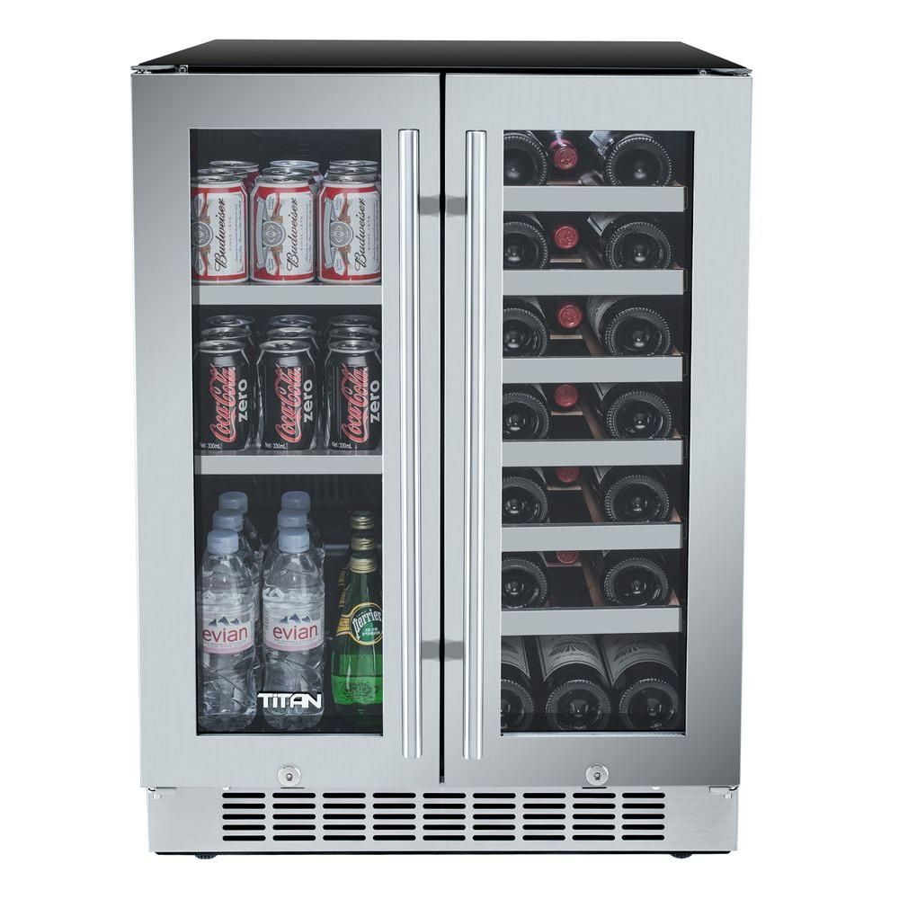 Titan 60 Can 21 Bottle French Door Seamless Stainless Steel Dual Zone Built In Beverage And Wine Built In Beverage Cooler Beverage Refrigerator Beverage Cooler