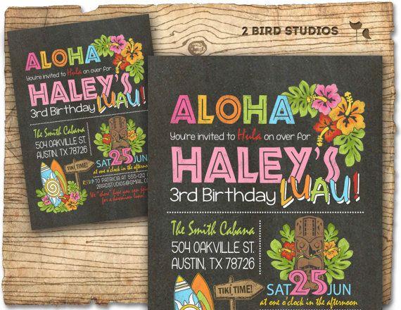 Hawaiian Birthday Invitation Luau Birthday Invitation