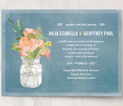 cute mason jar bouquet invite Customizable bridal shower