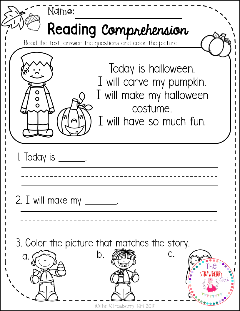 These Reading Comprehension Have A Fall Theme To Engage Your K 1 Students Reading Comprehension Kindergarten Kindergarten Reading Reading Comprehension [ 1056 x 816 Pixel ]